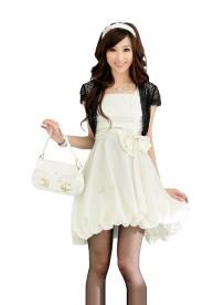 Weißes Cocktail-Kleid mit Ballonrock und Taillenband