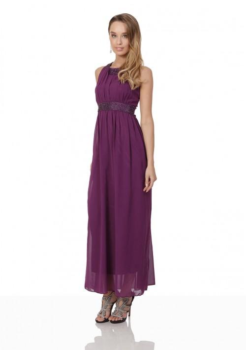 Lila Abendkleid aus Chiffon mit breiten Strass-Applikationen - schnell und günstig bei VIP Dress