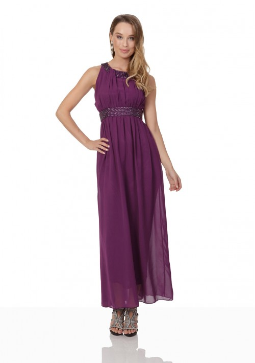 Lila Abendkleid aus Chiffon mit breiten Strass-Applikationen - günstig bestellen bei VIP Dress