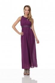 Lila Abendkleid aus Chiffon mit breiten Strass-Applikationen