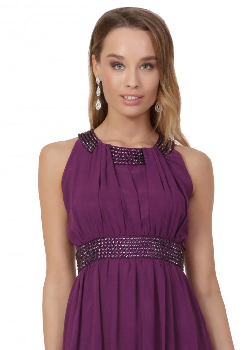 Lila Abendkleid aus Chiffon mit breiten Strass-Applikationen - hier günstig online bestellen