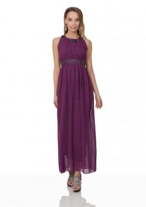 Lila Abendkleid aus Chiffon mit breiten Strass-Applikationen - günstig kaufen bei vipdress.de