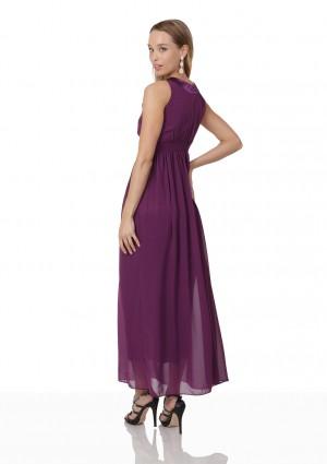 Lila Abendkleid aus Chiffon mit breiten Strass-Applikationen - bei VIP Dress günstig kaufen