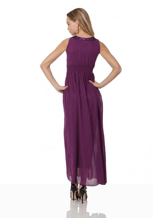 Lila Abendkleid aus Chiffon mit breiten Strass-Applikationen - bei VIP Dress online bestellen