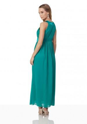 Chiffon-Abendkleid in Türkis mit edlen Ziersteinen - bei VIP Dress günstig kaufen