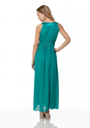 Chiffon-Abendkleid in Türkis mit edlen Ziersteinen - online bestellen bei vipdress.de