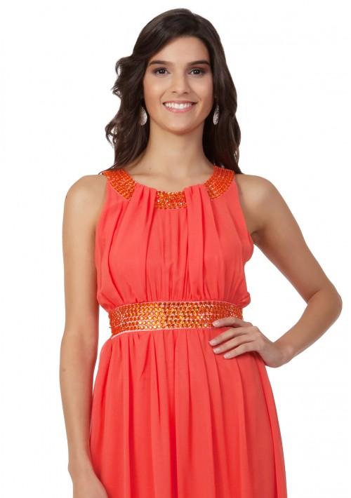 Chiffon-Abendkleid in Melone mit Strassbändern - bei VIP Dress günstig kaufen