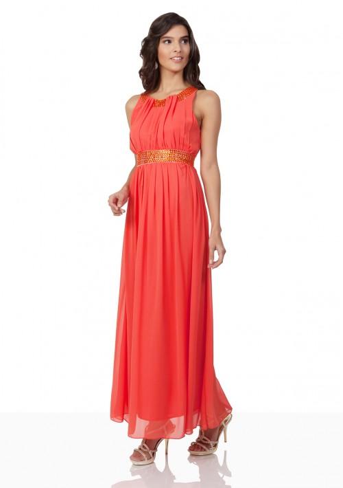 Chiffon-Abendkleid in Melone mit Strassbändern - online bestellen bei vipdress.de