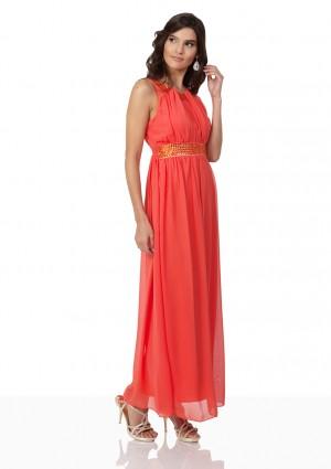 Chiffon-Abendkleid in Melone mit Strassbändern - hier günstig online bestellen