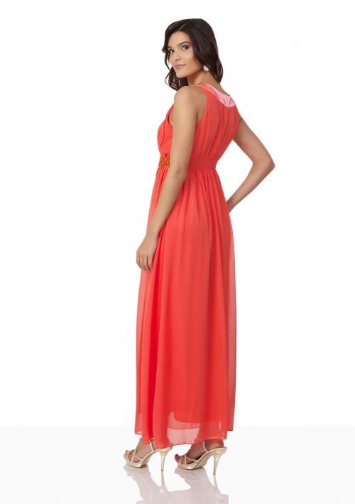 Chiffon-Abendkleid in Melone mit Strassbändern - günstig bestellen bei VIP Dress