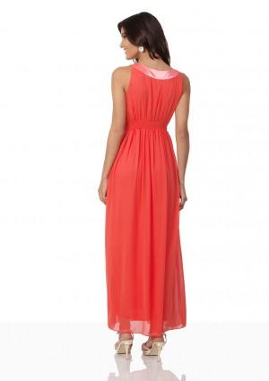 Chiffon-Abendkleid in Melone mit Strassbändern - bei VIP Dress online bestellen
