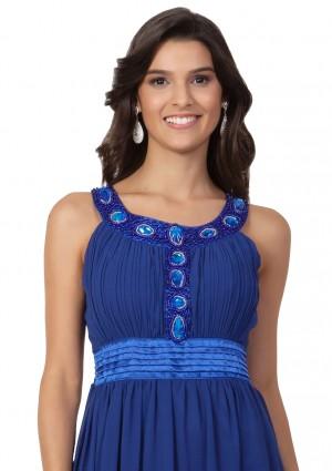 Abendkleid aus Chiffon in Blau mit auffälligem Strassdekor - online bestellen bei vipdress.de