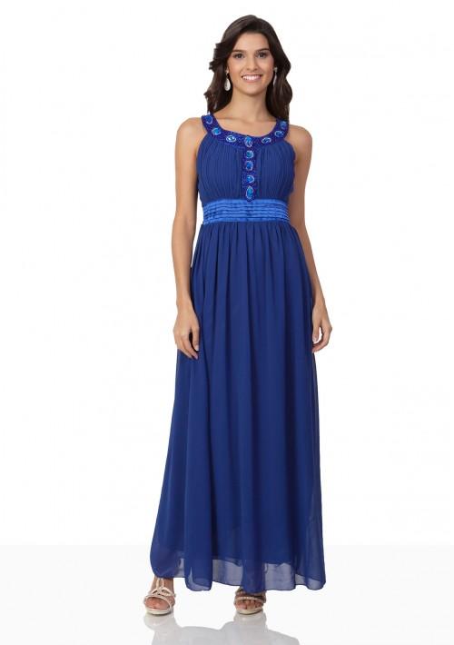 Abendkleid aus Chiffon in Blau mit auffälligem Strassdekor - bei VIP Dress günstig kaufen