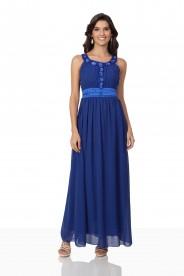Abendkleid aus Chiffon in Blau mit auffälligem Strassdekor
