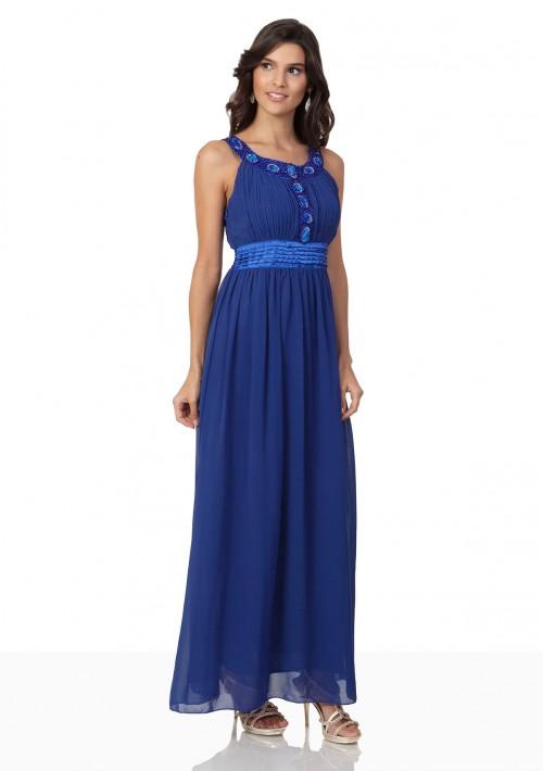 Abendkleid aus Chiffon in Blau mit auffälligem Strassdekor - bei VIP Dress online bestellen