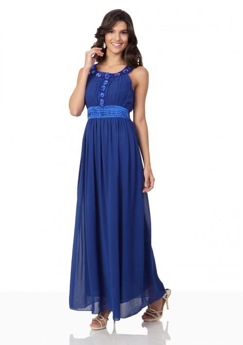 Abendkleid aus Chiffon in Blau mit auffälligem Strassdekor - günstig bestellen bei VIP Dress