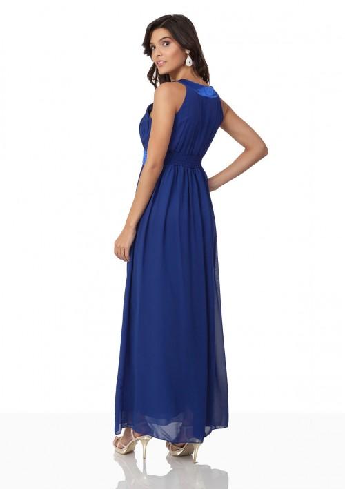 Abendkleid aus Chiffon in Blau mit auffälligem Strassdekor - bei vipdress.de günstig shoppen