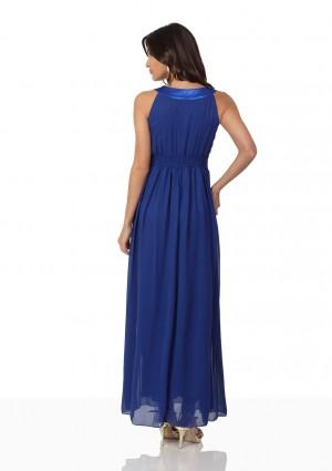 Abendkleid aus Chiffon in Blau mit auffälligem Strassdekor - günstig kaufen bei vipdress.de