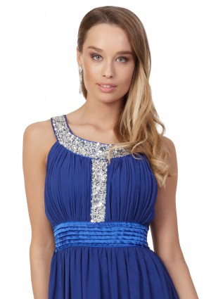 Blaues Abendkleid mit Strass-Dekolleté - günstig shoppen bei vipdress.de