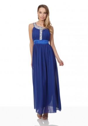 Blaues Abendkleid mit Strass-Dekolleté - bei vipdress.de günstig shoppen