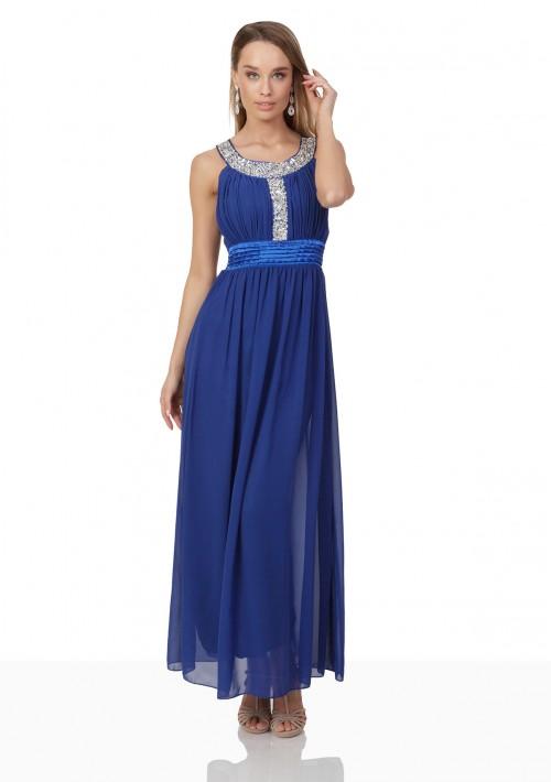 Blaues Abendkleid mit Strass-Dekolleté - hier günstig online bestellen