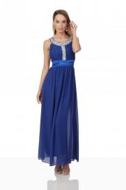 Blaues Abendkleid mit Strass-Dekolleté
