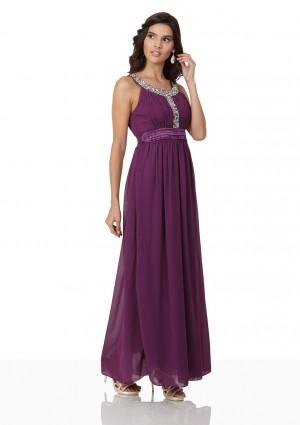 Langes Abendkleid in Lila mit Strass-Applikationen - schnell und günstig bei VIP Dress