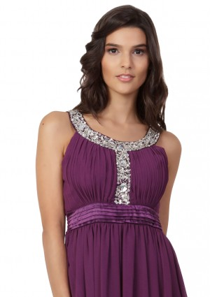 Langes Abendkleid in Lila mit Strass-Applikationen - günstig bei VIP Dress
