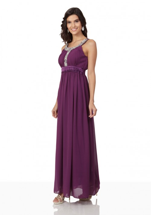 Langes Abendkleid in Lila mit Strass-Applikationen - hier günstig online bestellen