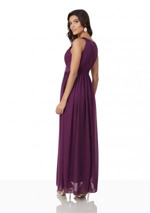 Langes Abendkleid in Lila mit Strass-Applikationen - bei VIP Dress günstig kaufen