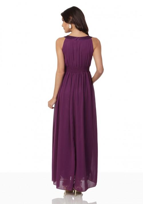Langes Abendkleid in Lila mit Strass-Applikationen - günstig bestellen bei VIP Dress
