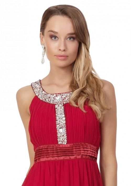 Abendkleid in Rot mit Strass-Ausschnitt - schnell und günstig bei VIP Dress