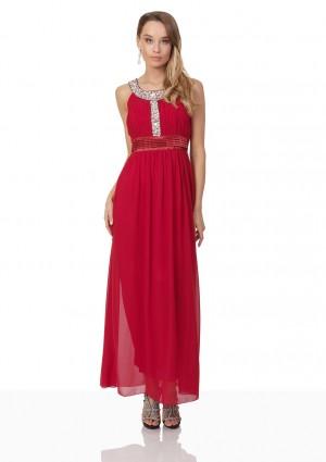 Abendkleid in Rot mit Strass-Ausschnitt -