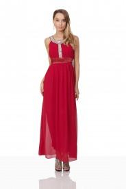Abendkleid in Rot mit Strass-Ausschnitt