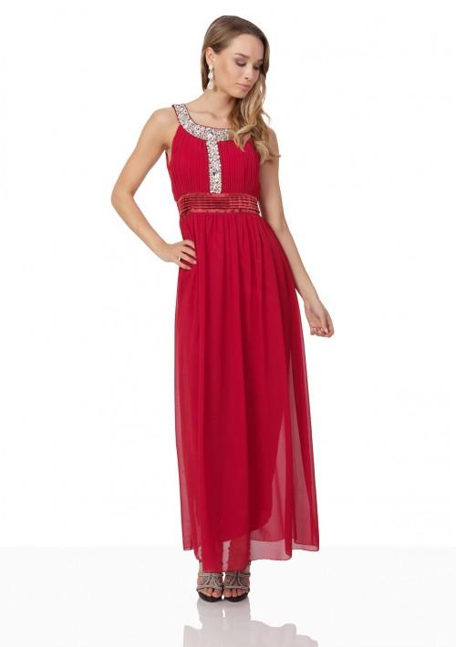 Abendkleid in Rot mit Strass-Ausschnitt - bei VIP Dress günstig kaufen