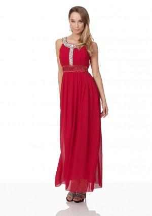 Abendkleid in Rot mit Strass-Ausschnitt - hier günstig online bestellen