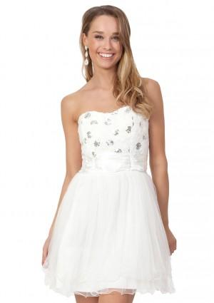Weißes Cocktailkleid mit aparter Blütenzier und Tüll -