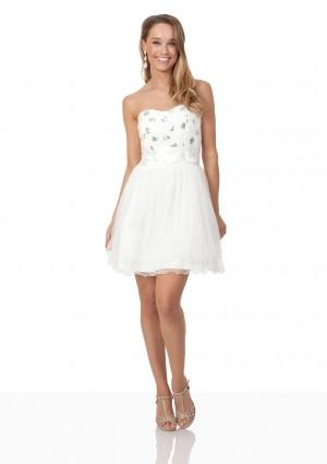 Weißes Cocktailkleid mit aparter Blütenzier und Tüll - günstig bei VIP Dress