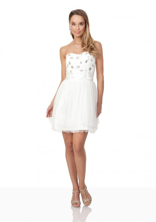 Weißes Cocktailkleid mit aparter Blütenzier und Tüll - günstig bestellen bei VIP Dress