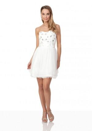 Weißes Cocktailkleid mit aparter Blütenzier und Tüll - bei VIP Dress online bestellen