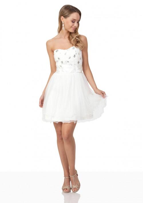 Weißes Cocktailkleid mit aparter Blütenzier und Tüll - bei VIP Dress günstig kaufen