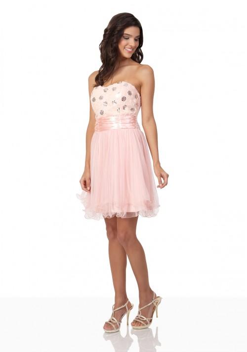 Cocktailkleid in Rosa mit Blütenbustier und Tüllrock - bei VIP Dress online bestellen