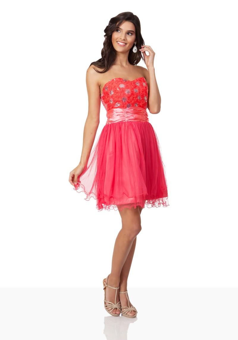 ... Schulterfreies Cocktailkleid in Pink mit Tüllrock und Blütenbustier -  bei VIP Dress online bestellen ... 2d54a610ce