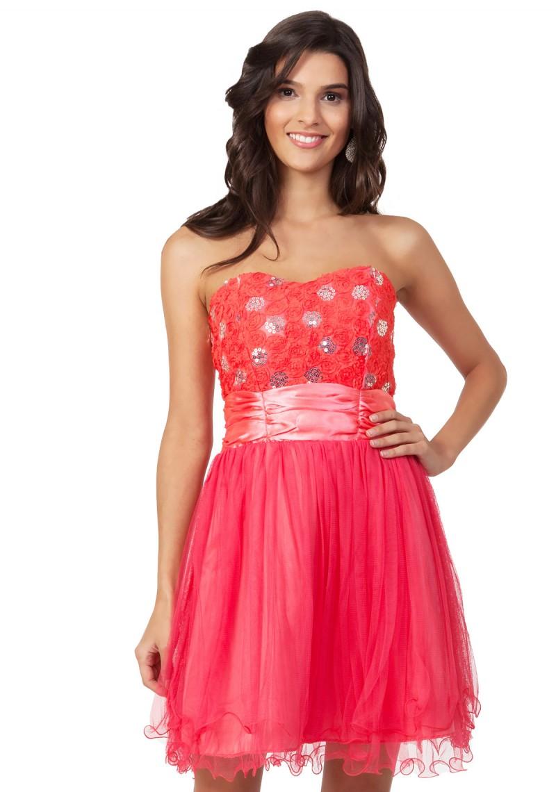 Cocktailkleid mit aufwendigem Bustier in Pink online kaufen ♥