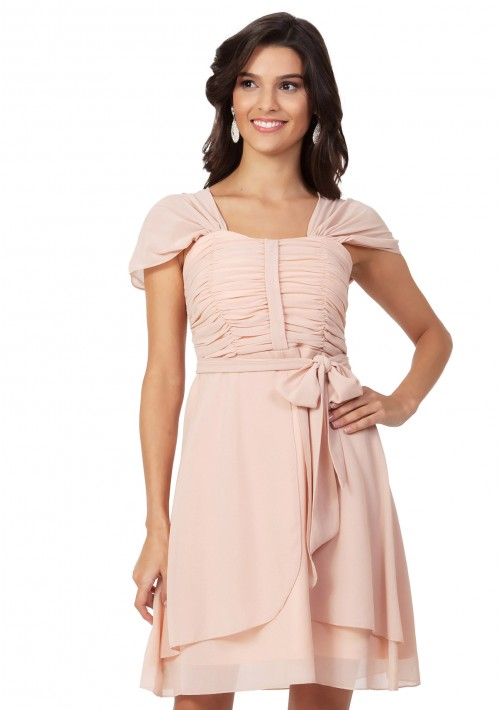 Cocktailkleid aus Chiffon in Apricot - günstig bei VIP Dress