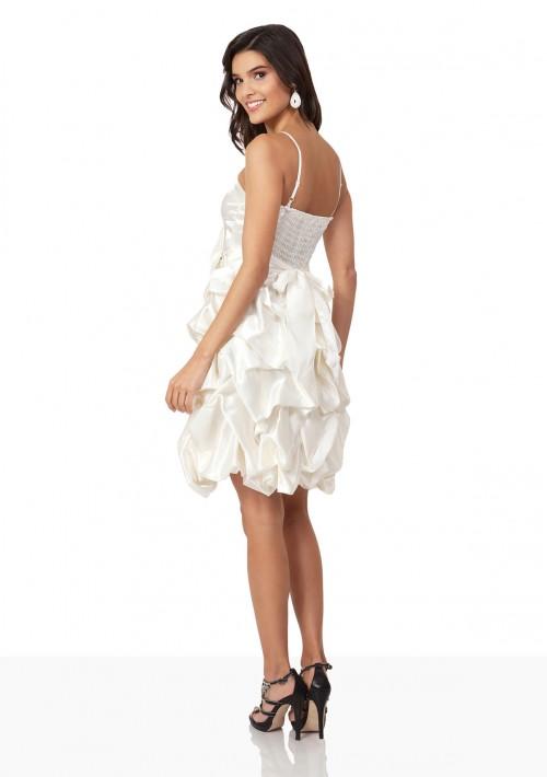 Satin-Cocktailkleid in Creme mit Ballonrock in Rüschenfalten - bei VIP Dress online bestellen