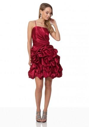 Cocktailkleid aus Satin in Rot mit Rüschenballonrock - bei VIP Dress günstig kaufen