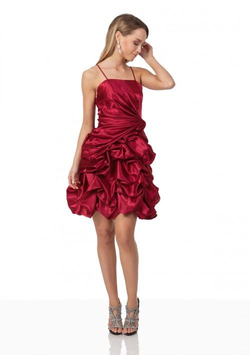 Cocktailkleid aus Satin in Rot mit Rüschenballonrock - bei VIP Dress online bestellen