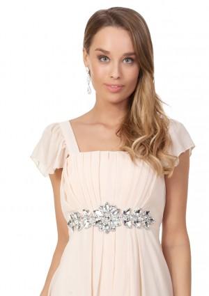 Strassverziertes Abendkleid aus Chiffon in Beige - schnell und günstig bei VIP Dress