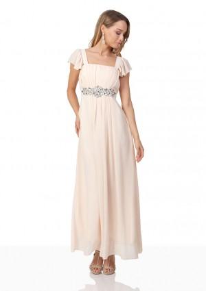 Strassverziertes Abendkleid aus Chiffon in Beige - bei VIP Dress günstig kaufen